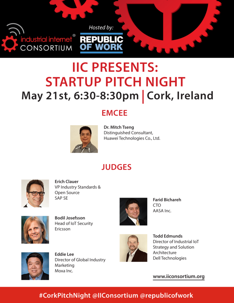 #CorkPitchNight slide 1 covering the panel and judges