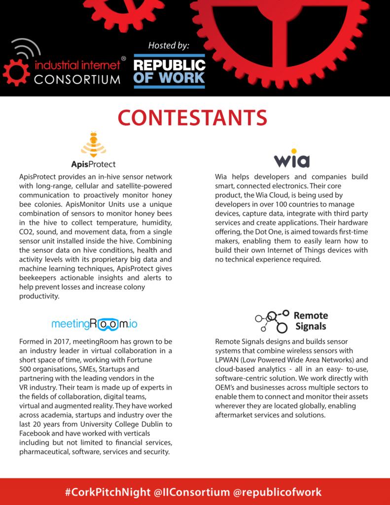 #CorkPitchNight slide 1 covering the companies presenting - AprisProtect, Wia, meetingRoom.io and RemoteSignals