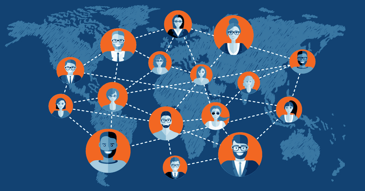 virtual teams all over the globe on a flat map
