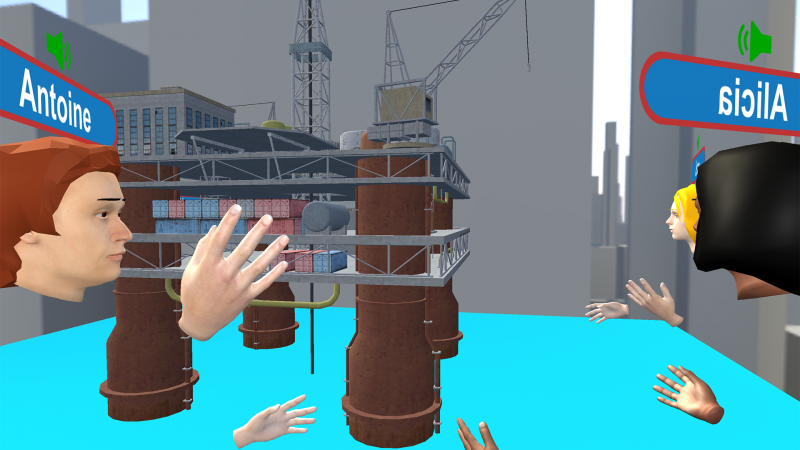 image of a number of avatars in a encrypted model room looking at a model of an off-shore oil rig