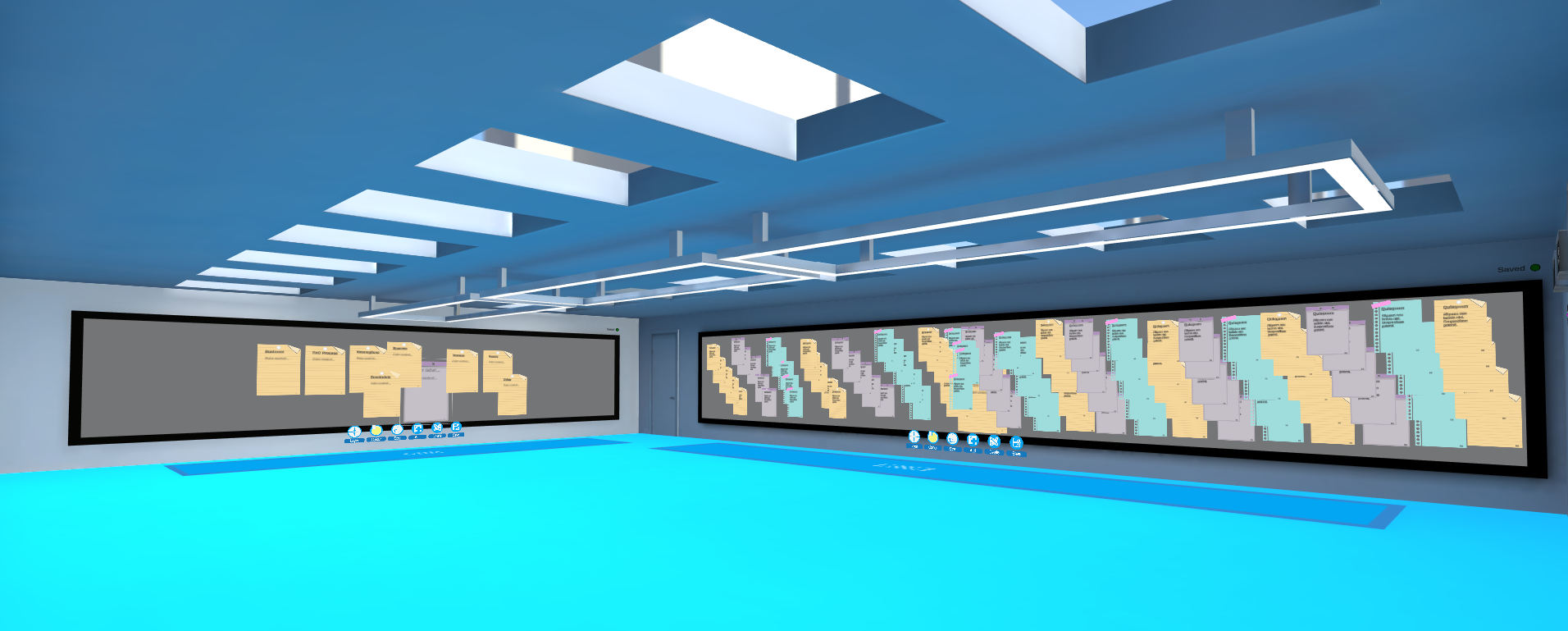 a shot of 2 sticky note walls in the large collaboration room
