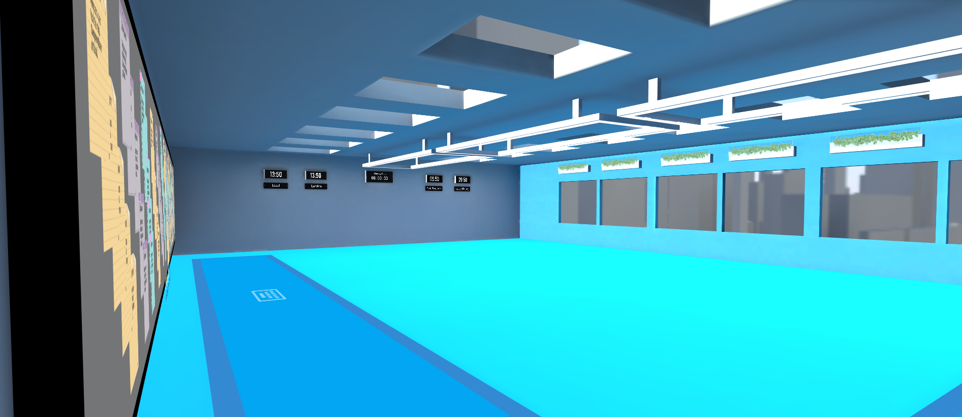 a shot of the large collaboration view showing one sticky note wall and the time-zone clocks on the far wall with another wall including windows with a city view