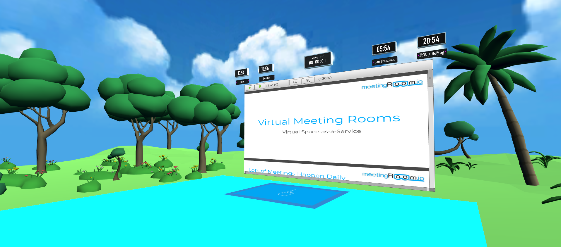 an outdoor room with blue Skys and trees. there is a document viewer with a timer and clocks on the wall
