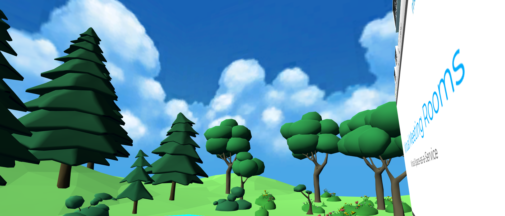 an outside virtual meeting room with trees, a blue sky and a document viewer