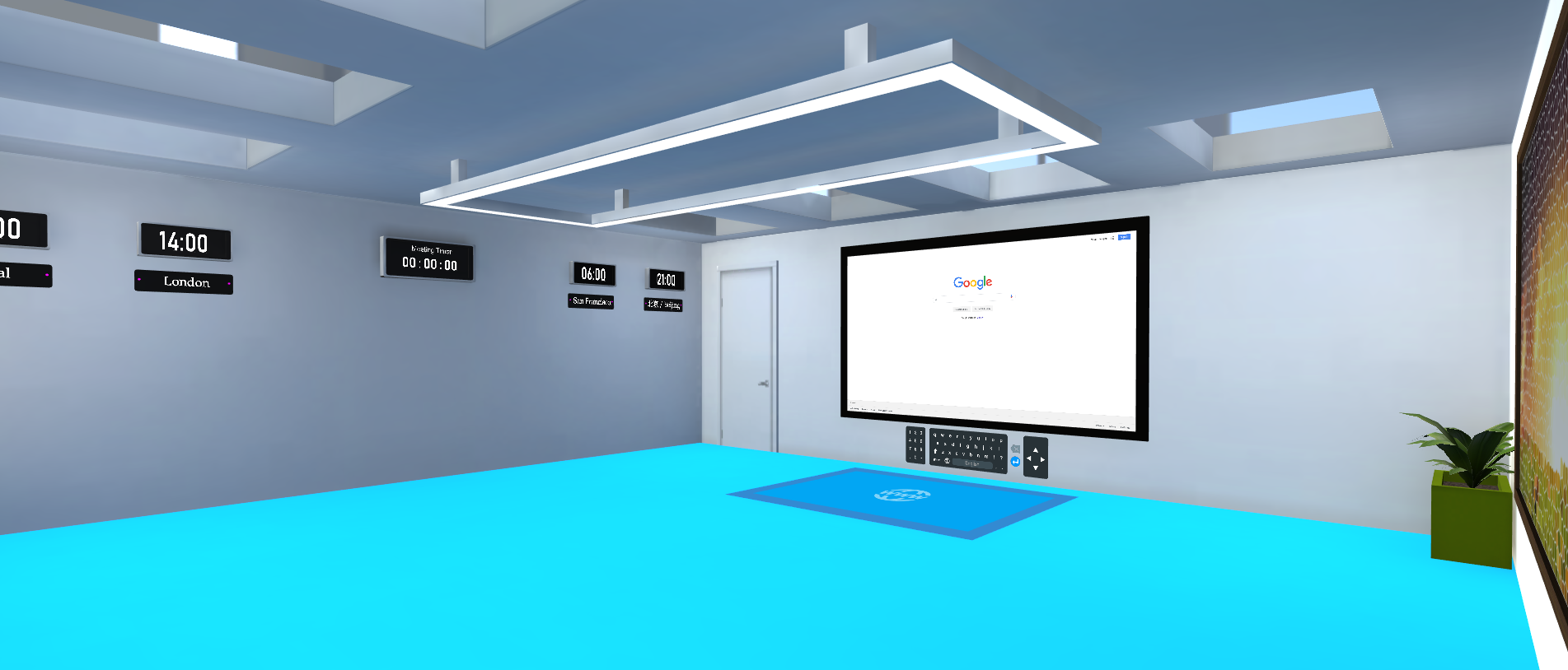 a shot of the web room with a web browser viewer, world clocks and a timer with a plant in the corner