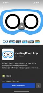 iOS screenshot of meetingRoom app download and install on Oculus Quest from your phone ahead of attending a virtual reality meeting