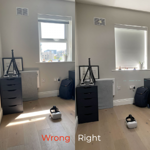 """on the left is the image of an office with sunlights streaming in with an oculus Quest placed on the floor. On the right there is the same office with the blinds drawn down and an overhead light turned on on the left half of the image there is the text in red saying""""wrong"""" on the right half of the image there is the text in white saying""""right"""" when attending a virtual reality meeting"""