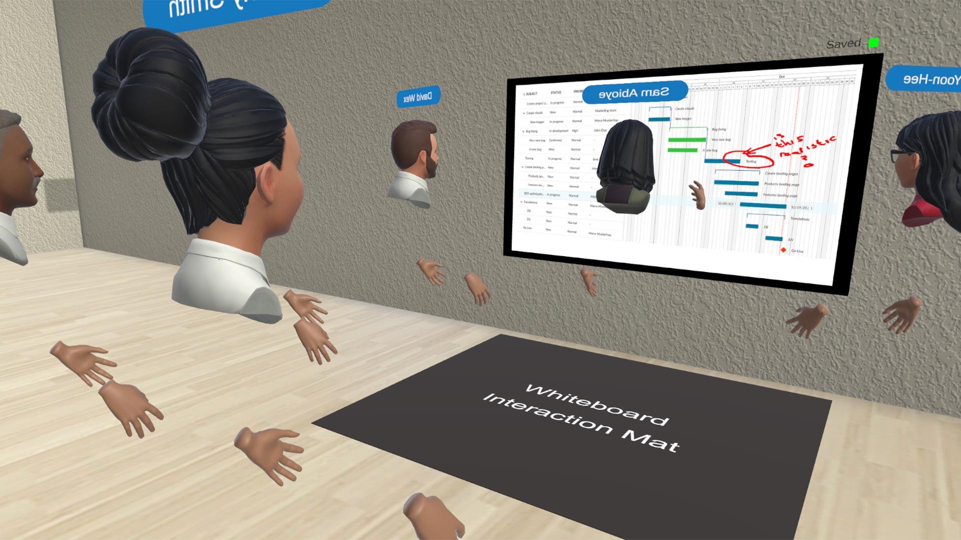 avatars standing around a whiteboard